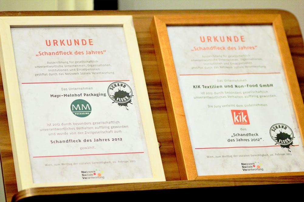 Schandfleck-Urkunden 2012